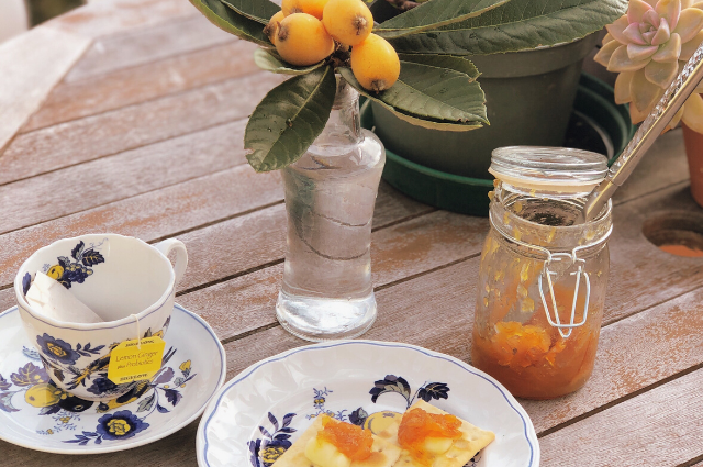 Loquat jam with cheese and crackers
